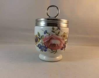 Royal Worcester egg coddler , royal worcester collectable , flower decoration , metal screw lid ,