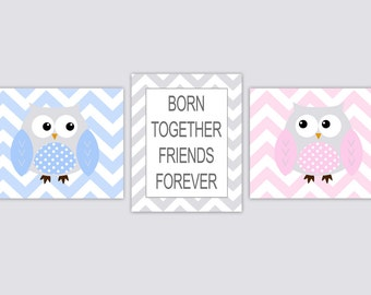 Twins Owls Nursery Wall Art