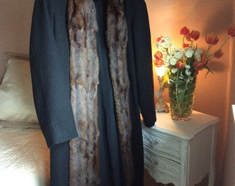 Vintage Wool Coat With Mink Trim