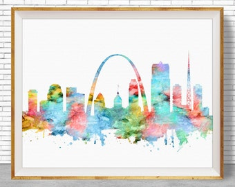Saint Louis Art Saint Louis Skyline, Saint Louis Print, Saint Louis Missouri, City Skyline Prints, Skyline Art, Cityscape Art, ArtPrintZone