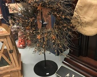 Black tea stained twig wreath