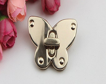 2sets Golden butterfly Purse lock twist purse turn lock clutch clock ,Turn Lock Fastner,Purse Twist Lock Latch 52mm x 40mm