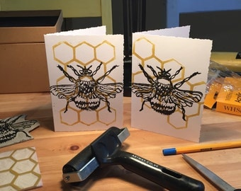 Honey bee greetings card with blank inside.