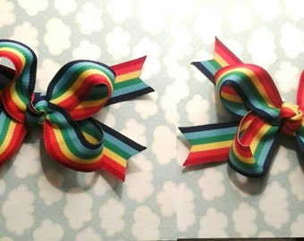 Matching Pair Rainbow Bows ready to ship