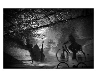 "bicycle Fine Art Print bike giclee print on Hahnemuehle barite paper, barite print, black and white photography ""Erfurt bike"", Aug/2014"