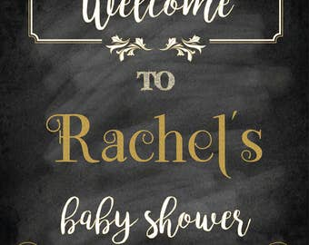 Baby shower welcome sign, Welcome to baby shower sign, gold baby shower sign, girl baby shower sign, printable welcome sign, decorations