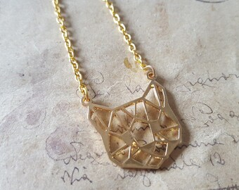 Geometry cats head necklace