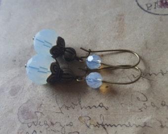 Opal White Pearl Earrings ~ bronze ~.