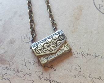 Letter Locket necklace ~ bronze ~.