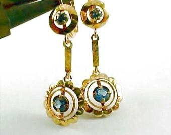Antique Ceylon Sapphire 12k Gold Ear Pendants Earrings