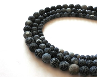 Natural Stone Frost Crab Black Agate Round Loose Beads 6 8 10 MM