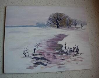acrylic on board winter scene