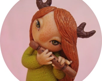 """Free shipping, Clay brooch,  Polymer clay brooch, Fantasy brooch, Redhair,  Redhair girl, Clay pin """"Little cute horny girl"""""""