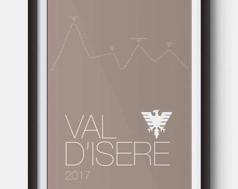 A4 Val D'Isere Ski Resort Poster Art