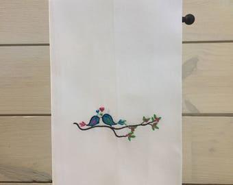 Guest Bathroom Linens - Spring Bathroom Decor - Embroidered Linen Hand Towels - Unique Bathroom Towels - Bird Lover gift - Gift for Gardener