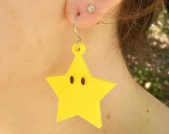 Earring Mario star – printed in 3D