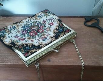 vintage purse, black purse, vintage wallet, vintage handbag, black purse, embroidered purse, shabby chic, bohemian style, old purse