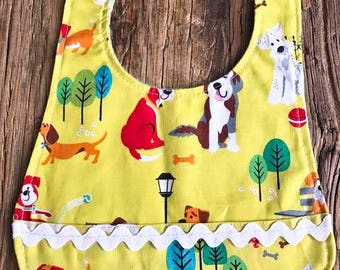 yellow baby bib-dog bib-plastic snap bib-pocket bib-gender neutral-baby shower gift