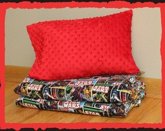 Star Wars- Nap Mat Cover & Minky Travel Sized Pillowcase -Kindermat Cover - Preschool- Daycare - Kindergarten