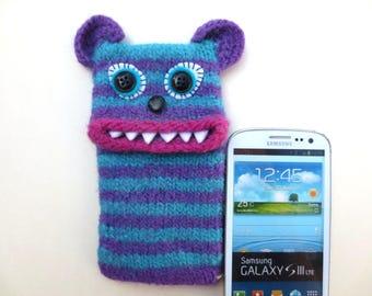 "Smartphone monster, Tiger ""Timmy"", felted Mobile Pocket, case, Samsung Galaxy S 3, mobile monster, felt, wool,."