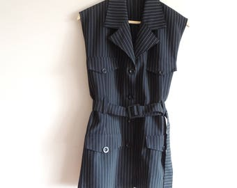 FREE SHIPPING - Vintage Long Black vest with white stripes, pockets, buttons and belt, made in France, size 48