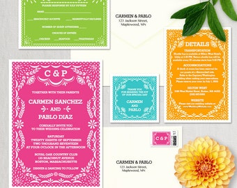 Wedding Invitation Template, Latina Papel Picado Wedding Invitation, DIY Editable Wedding Printable Template, Instant Download Word or Pages