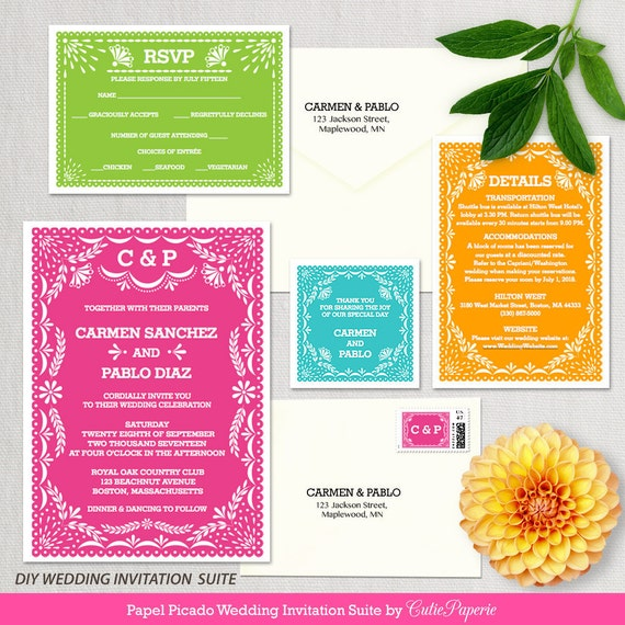wedding invitation template latina papel picado wedding invitation diy editable wedding printable template instant download word or pages - Papel Picado Wedding Invitations