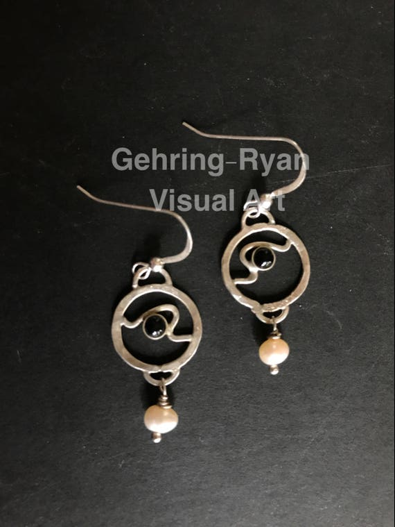 Black Onyx and Mother of Pearl Dangle Earring - Sterling Silver