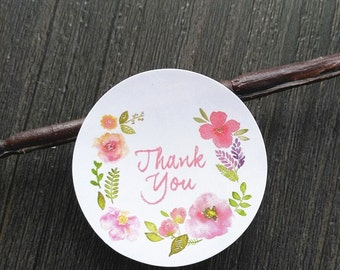 Flower Thank You Glossy Water Color Stickers. 50 Stickers. Pretty flower stickers self adhesive stickers.