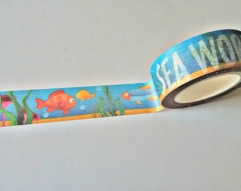 Sea World Japanese Washi Tape. Scrapbook and Stationery Tape. Pretty Tape.