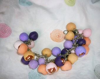 Bracelet with beads from polymer clay. serenevy bracelet purple bracelet zhenschine.podarok girl handmade.