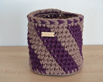 Basket made of purple/grey textile yarn / / great looker and beautiful decoration / / for Krims Krams of all kinds / / gift and souvenirs