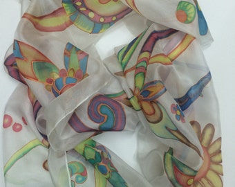 Hendpainted silk scarf ( 100% batik) long