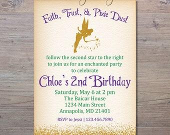 Fairy Birthday Invitation, Gold Fairy Invitation, Tinkerbell Birthday Invitation, Tinkerbell Party, Tinkerbell Birthday, Fairy Party Invite