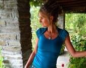 Open back top, Blue Khaleesi clothing, Sleeveless blouse for women, Festival shirt, Goddess wear, Teal Turquoise clothes, Boho chic for her