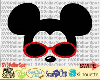 Mickey Mouse SVG - Disney  SVG - Mickey with Sunglasses - SVG File - Silhouette Studio File
