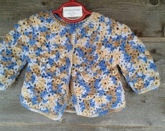 Sweater, Crocheted, Boy, Cotton, Vintage Button