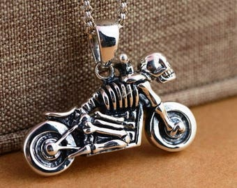 Pendant  motorcycle, silver motorcycle, Pendant skeleton motorcycle, 925 skeleton pendant, Halloween necklace