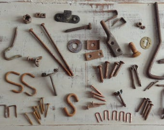 Lot of Misc Salvaged Hardware Findings | Rusty Screws | Copper Nails | Hooks | Woodworking Supplies | Assemblage | Steampunk
