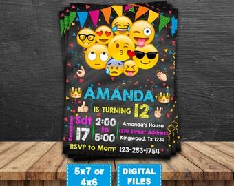Emoji invitation, emoji birthday invitation, emoji birthday party, emoji printable, emoji digital, omg invite, smile Invitation, emoji card