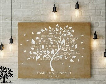 70 x 50, family tree, family tree, instead of Hochzeitabaum or guest book, wedding tree. Family tree to the golden wedding, birthday
