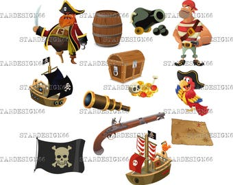 Digital EPS PNG JPG Pirates set, vector, clipart, silhouette, instant download
