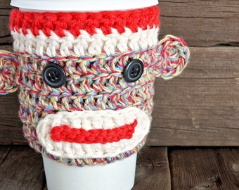 Crochet Sock Monkey Cup Cozy