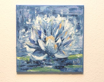An Energy Lotus Flower II - Oil Painting, Hand Painted Flower 40 x 40 cm