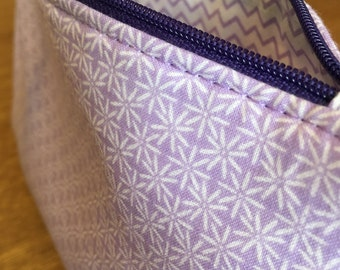 Lilac Geometric Print Makeup Bag