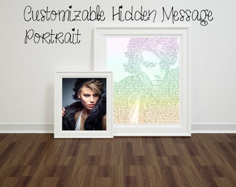 Custom Portrait Text Art. Perfect Personalized Gift for Him, Her, Weddings, Anniversaries, Birthdays, Mementos, Home Decor, Wall Art