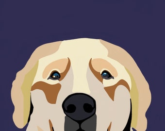 Golden Retriever Dog Digital Portrait