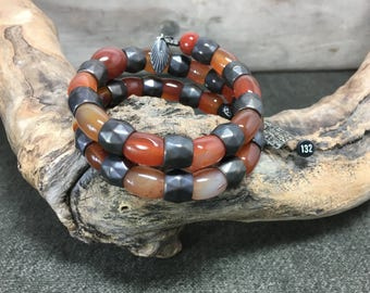 Red Agate and Gunmetal Large Memory Wire Bracelet