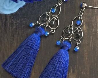 Blue and black chandelier tassel earrings