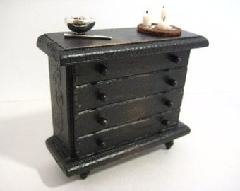 Dollhouse Miniature Witch WICCA Dresser with Accessories Wand Crystals 1:12 Scale Black
